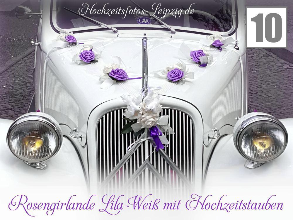 Autoschmuck zur Hochzeit: - Autogirlande in den Farben weiß & lila