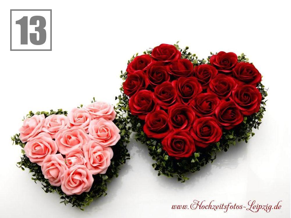 Hochzeitsauto Rosenherzen Rot-Rosa