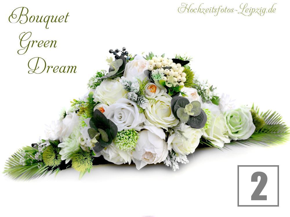 Autoschmuck zur Hochzeit: - Boho Rosengesteck in den Farben creme & grün