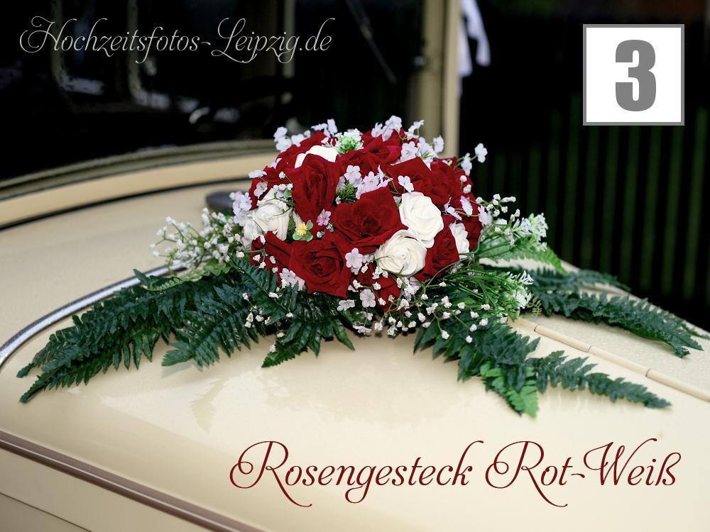 Hochzeitsauto Blumengesteck Rot-Weiß