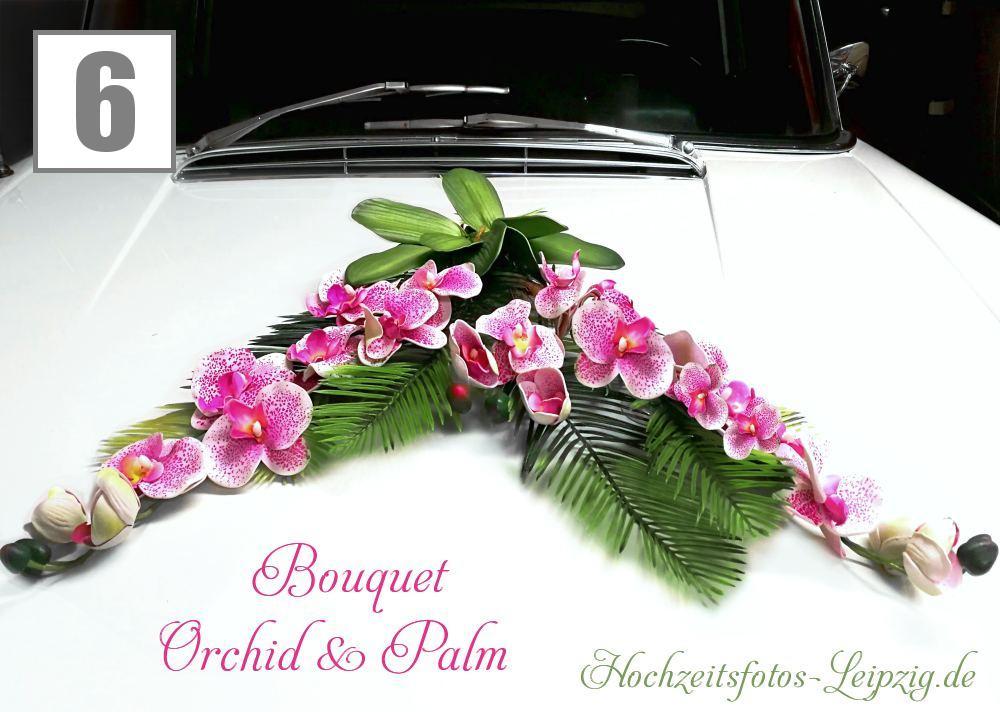 Hochzeitsauto Blumengesteck Orchidee Lila-Weiß