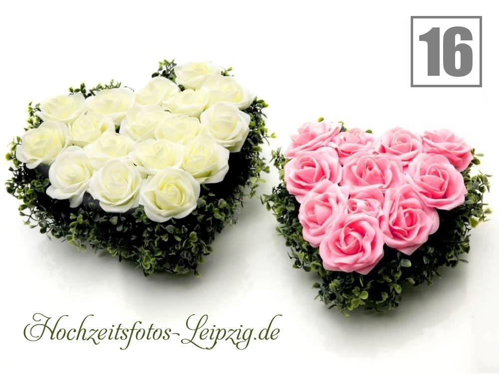 Hochzeitsauto Rosenherzen Weiß-Rosa