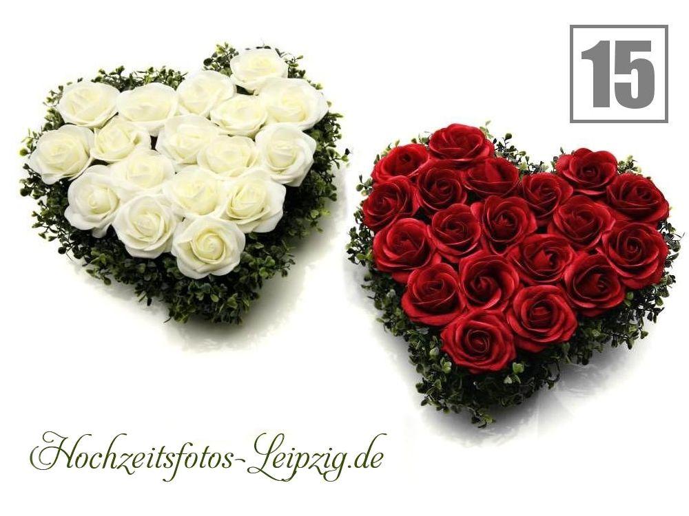 Hochzeitsauto Rosenherz Rot-Weiß